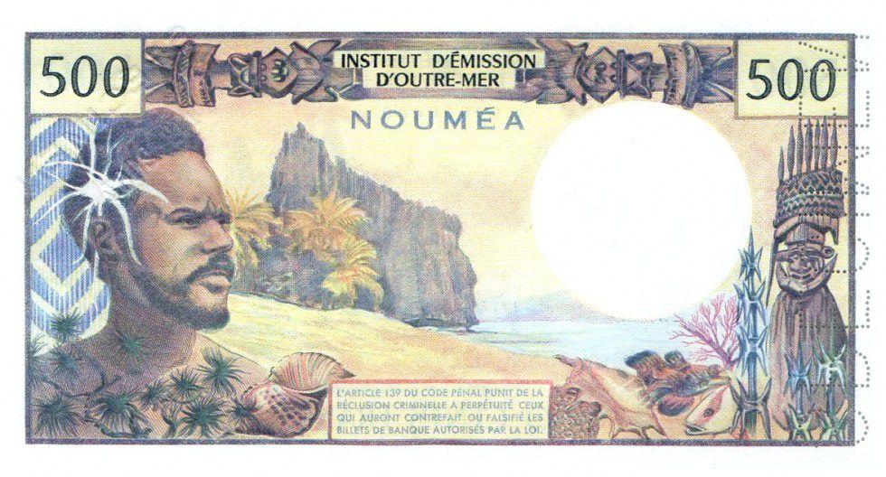 New Caledonia 500 Francs Dugout Canoe - Polynesian man - Specimen - 1979