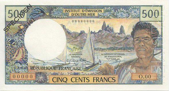 New Caledonia 500 Francs Dugout Canoe - Polynesian man