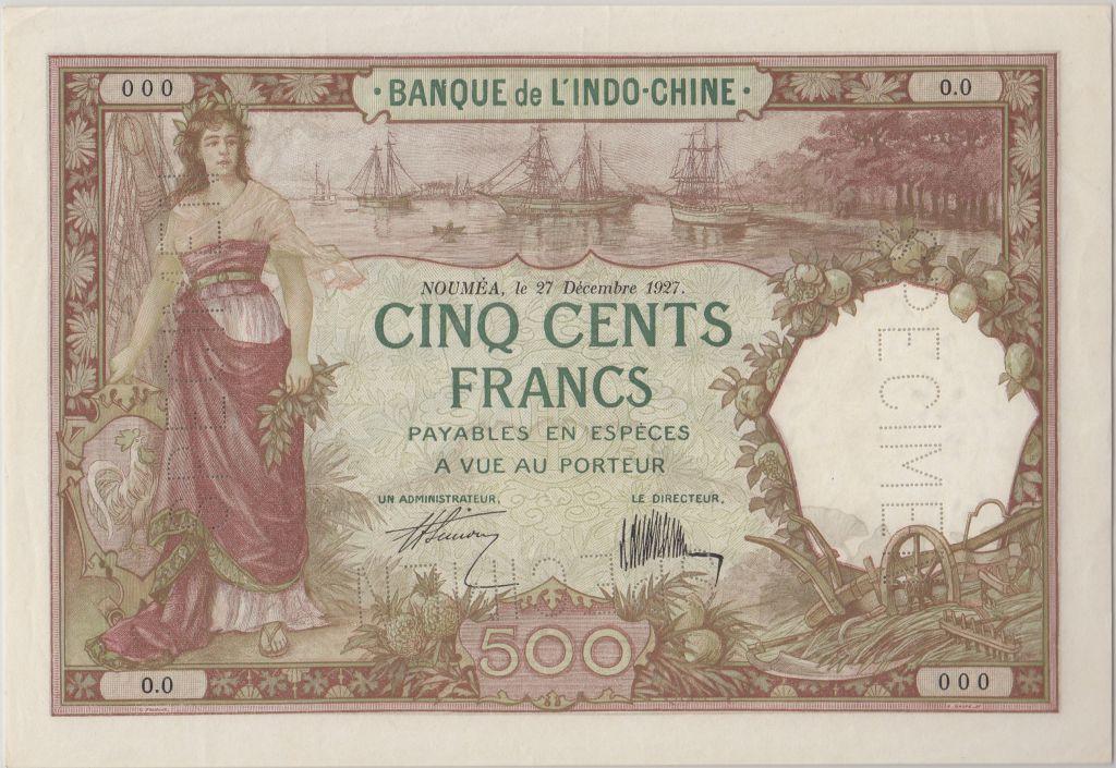 New Caledonia 500 Francs Woman, boats 27-12-1927, Specimen - PCGS MS 62