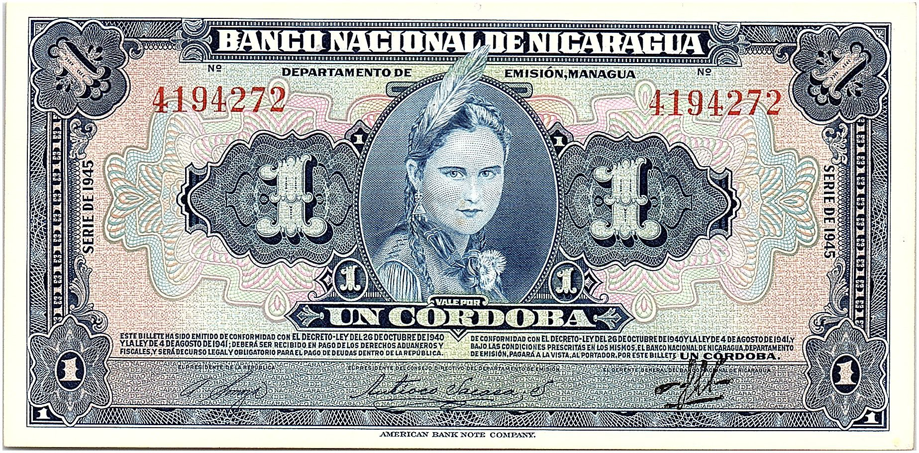 Nicaragua 1 Cordoba Femme indienne - 1945 - p.Neuf - P.90