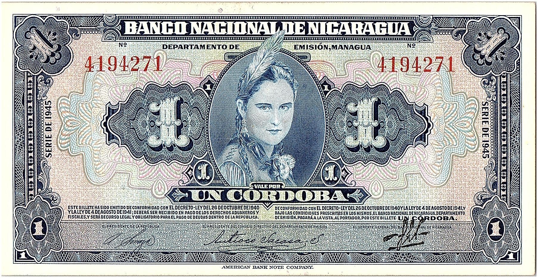 Nicaragua 1 Cordoba Femme indienne - 1945 - SUP - P.90 - 4194271