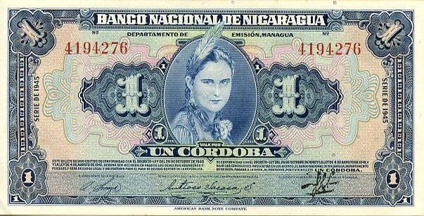 Nicaragua 1 Cordoba Femme indienne