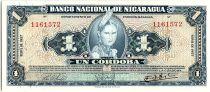 Nicaragua 1 Cordoba Indian woman - 1957- XF - P.99 - red number