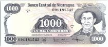 Nicaragua 1000 Cordobas,  Général A. C. Sandino - 1987