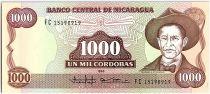Nicaragua 1000 Cordobas,  Général A. C. Sandino - 1988