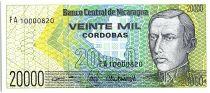 Nicaragua 20000 Cordobas,  Cleto Ordonez - 1989