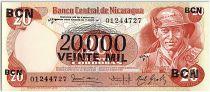 Nicaragua 20000 Cordobas sur 20 Cordobas,  German Pomares Ordonez - 1987