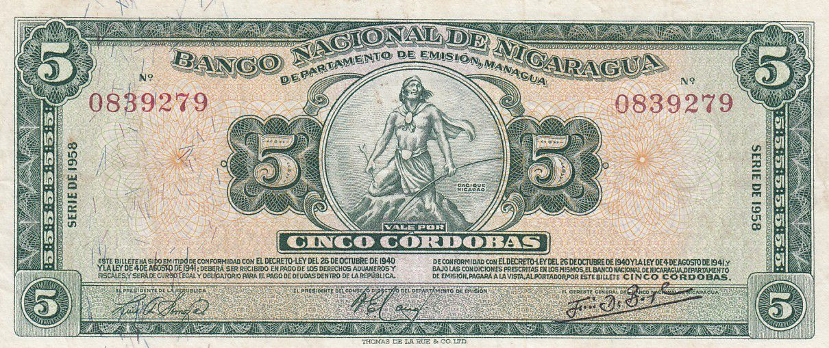 Nicaragua 5 Cordoba C. Nicarao 1958