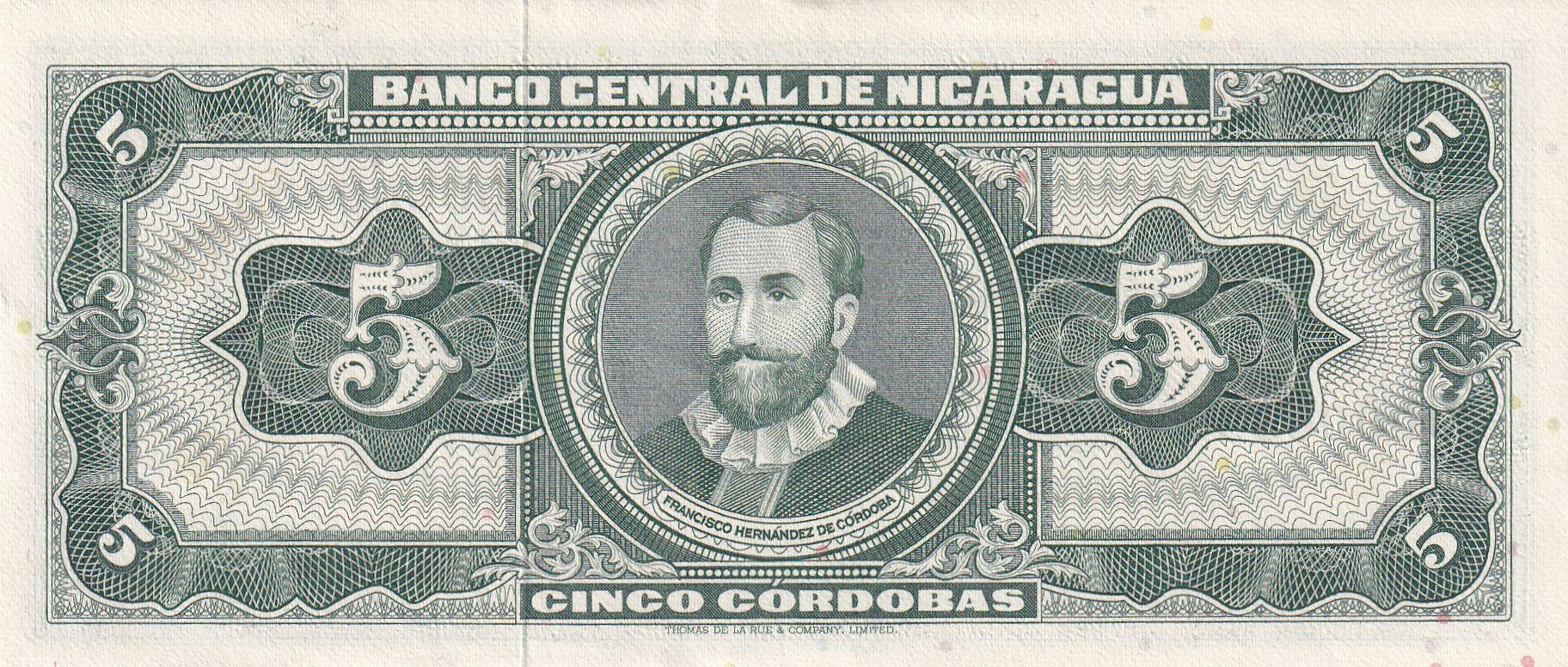 Nicaragua 5 Cordobas,  Cacique Nicaroa - 1968