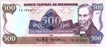 Nicaragua 500 Cordobas,  Ruben Dario - 1988
