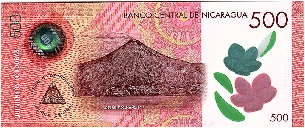 Nicaragua 500 Cordobas, Cathédrale - Volcan - 2017 (2019) Polymer - Neuf