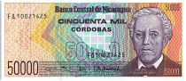 Nicaragua 50000 Cordobas,  Général José Dolores Estrada - 1989