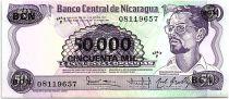 Nicaragua 50000 Cordobas sur 50 Cordobas,  Carlos Fonseca Amador - 1987