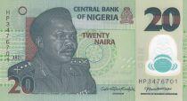Nigeria 20 Naira - Général Muhammad, Potier - Polymer 2021 - Neuf