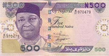 Nigeria 500 Naira Dr N. Azikiwe - Plateforme pétrolière 2015