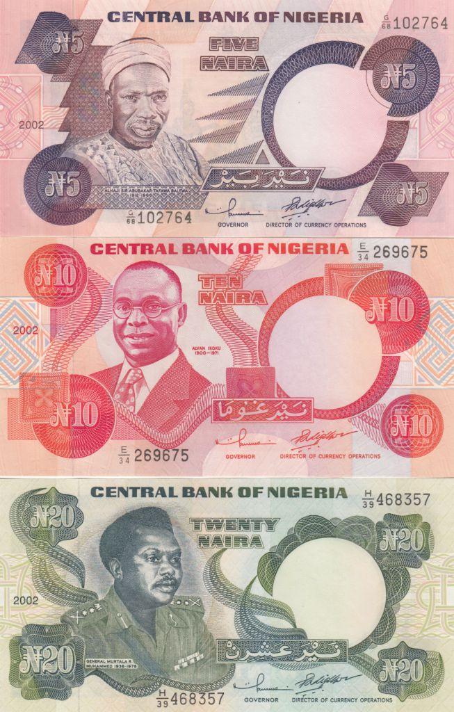 Nigeria Set of 3 banknotes  - 5, 10 and 20 Naira - 2002