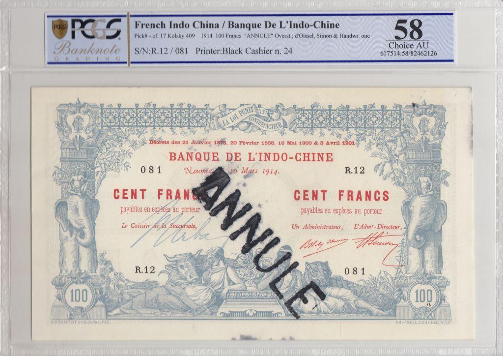 Nle Calédonie 100 Francs Eléphants 10-03-1914 - PCGS AU 58 - Série R.12