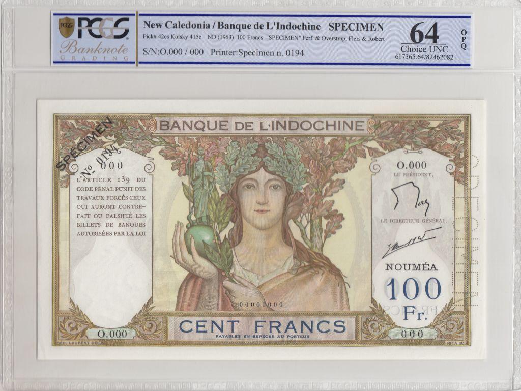 Nle Calédonie 100 Francs ND1963 Spécimen - PCGS MS 64 OPQ
