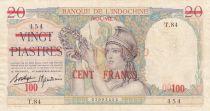 Nle Calédonie 100 Francs sur 20 Piastres - 1939 - Série T.84 - TTB