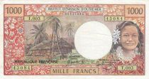 Nle Calédonie 1000 Francs ND1985 - Tahitienne, Hibiscus, paysage, cerf