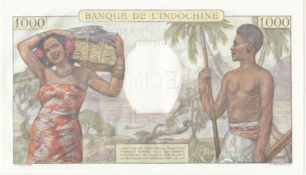 Nle Calédonie 1000 Francs scène de marché - ND (1938) Specimen