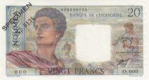 Nle Calédonie 20 Francs Jeune Berger - ND (1963) - Spécimen n°0134