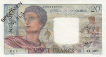 Nle Calédonie 20 Francs Jeune Berger - ND (1963) - Spécimen n°0135