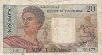 Nle Calédonie 20 Francs ND1951 - berger, femme, fruits