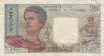 Nle Calédonie 20 Francs ND1963 - berger, femme, fruits