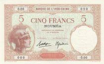 Nle Calédonie 5 Francs Walhain - Spécimen - ND (1937)