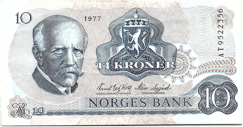 Norvège 10 Kroner, Fridtjof Nansen - Pêcheur - 1977 - TTB - P.36