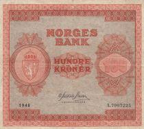 Norvège 100 Kroner 1945 - Série A.7907225 - p.TTB