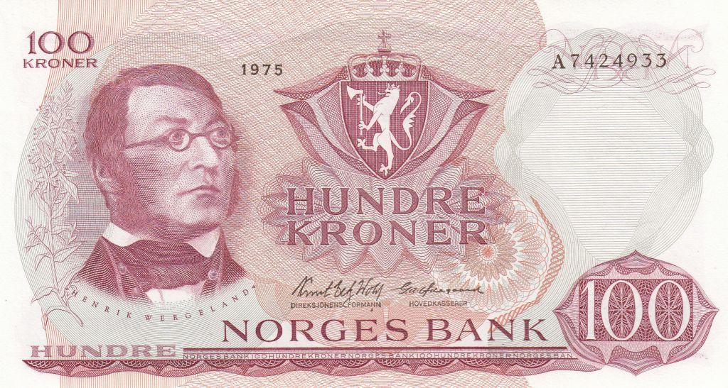 Norvège 100 Kroner 1975 - H. Wergeland, Constitution de 1814