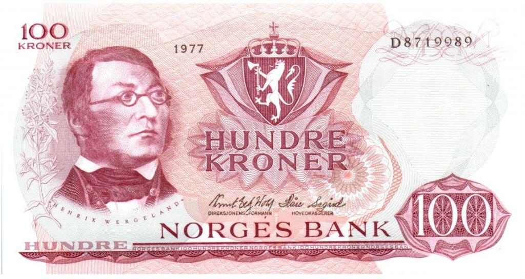 Norvège 100 Kroner 1977 - Henrik Wergeland