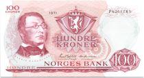 Norvège 100 Kroner Henrik Wergeland - 1971 Neuf - Préfixe P