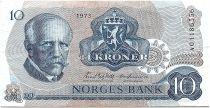 Norway 10 Kroner, Fridtjof Nansen - Fisherman - 1973 - VF - P.36