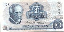 Norway 10 Kroner, Fridtjof Nansen - Fisherman - 1974 - VF - P.36