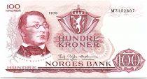 Norway 100 Kroner Henrik Wergeland - 1970 AU - Prefix M