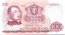 Norway 100 Kroner Henrik Wergeland - 1972 UNC - Prefix T