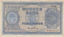 Norway 5 Kroner 1948 - Serial D.0012715 - P.25