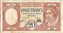 Nouvelle Calédonie 20 Francs Au paon  - 1929