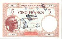 Nouvelle Calédonie 5 Francs Walhain - Spécimen perforé - 1926