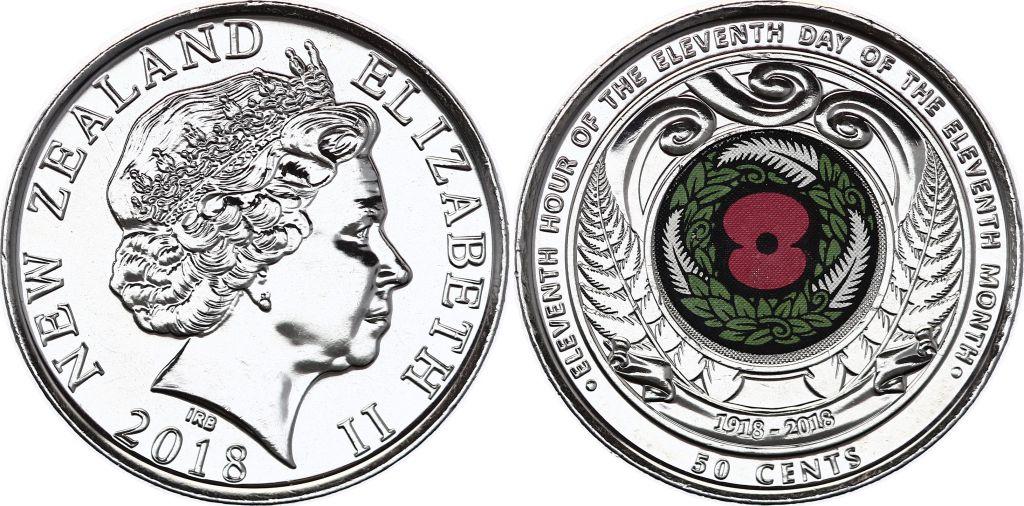 Nouvelle-Zélande 50 Cents Armistice 1918 - 2018 - WWI colorisé