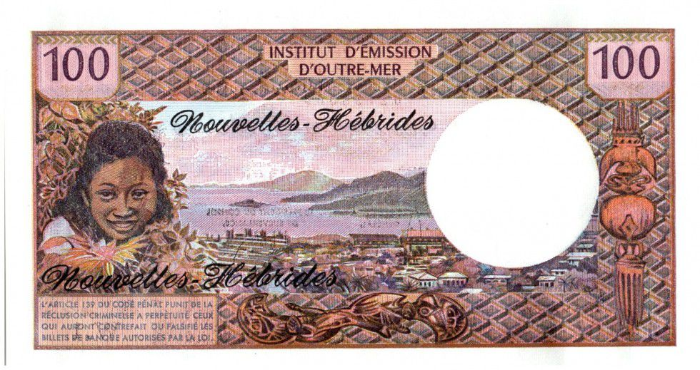 Nouvelles Hébrides 100 Francs Tahitienne - 1975 serie W.1