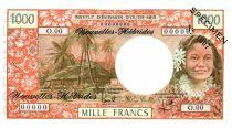 Nouvelles Hébrides 1000 Francs Tahitienne - Hibiscus - Spécimen