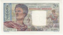 Nouvelles Hébrides 20 Francs Berger - 1945 Spécimen  - Neuf
