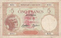 Nouvelles Hébrides 5 Francs Walhain surchargé France Libre - 1941 Série U.71