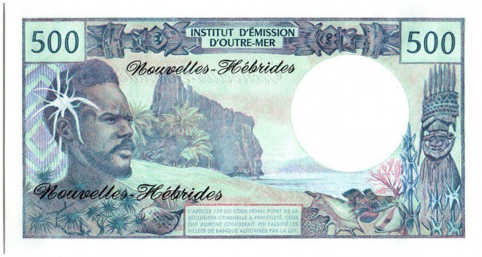 Nouvelles Hébrides 500 Francs Polynésien - Pirogue - 1970 alph A.1