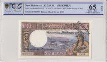 Nuevas Hébridas 100 Francs Tahitienne - 1970 - Specimen - PCGS 65 OPQ