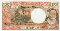Nuevas Hébridas 1000 Francs Tahitian woman - Hut in palm trees - 1980
